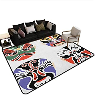 Kabuki Mask Kids Carpet playmat Rug Traditional Chinese Cultural Opera Mask Set Collection Tribal Art Theme Area Kitchen Rug Multicolor 4'x6'
