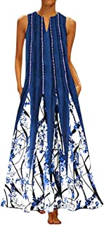 Long Dresses for Women Vintage Print Maxi Dress Casual Sleeveless Cotton-Blend Summer Dress Plus Size S-5XL Chaofanjiancai