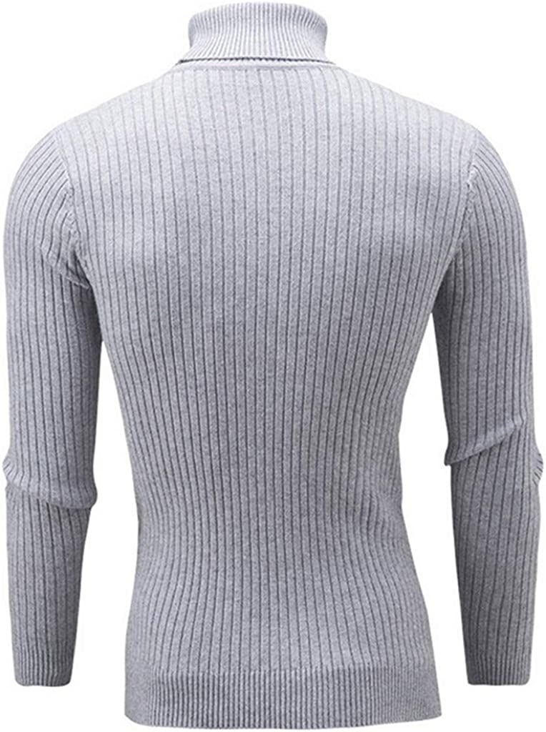 WUAI-Men Turtleneck Pullover Sweater Slim Fit Casual Twisted Knitted Thermal Tops Blouse