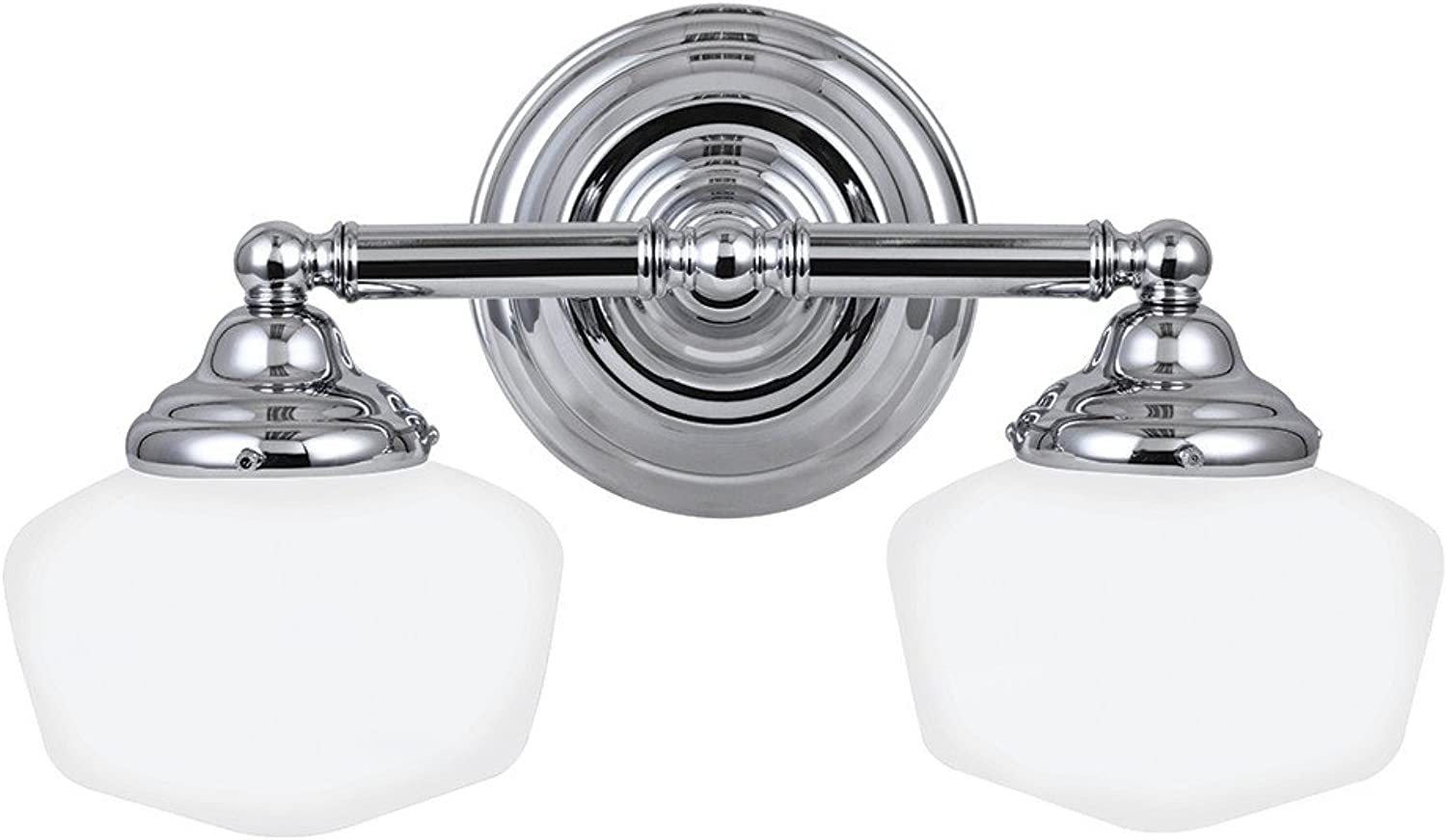 Sea Gull Lighting 44437-05 Academy Two-Light Bath or Wall Light Fixture with Satin White Glass, Chrome Finish