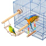 SAWMONG Bird Playground Parrot Stand Birdcage Playstand Pet Play Climb Gym Parakeet Cage Decor Budgie Perch Stand with Ladder and Swing Bird Chew Toys Wooden Perch for Conure Cockatiel Finch