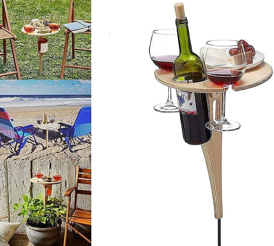 Weintisch im Freien mit Flaschenhalter, Klapptisch für den Außenbereich, Tragbarer Strandtisch, Mini-Klapptisch, Weintisch im Freien, zusammenklappbarer Picknicktisch für den Garten, Reisen