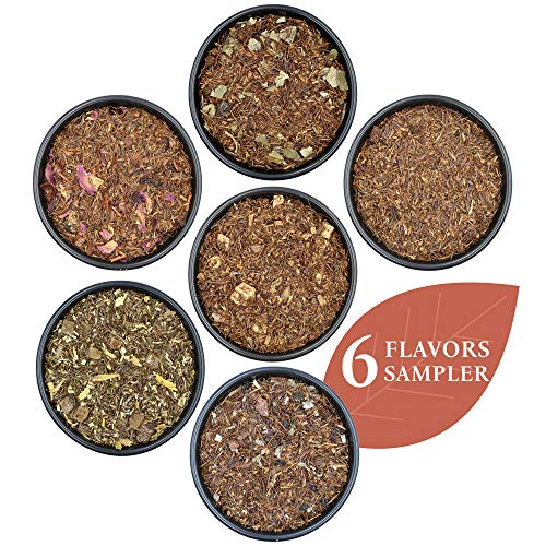Rooibos #1 Tea Sampler, Herbal Tea Sampler, Tea Variety Pack with Herbs, Fruits, and Spices, Naturally Flavored Tea for Hot or Iced Tea, 6 Samplers– Prime Tea