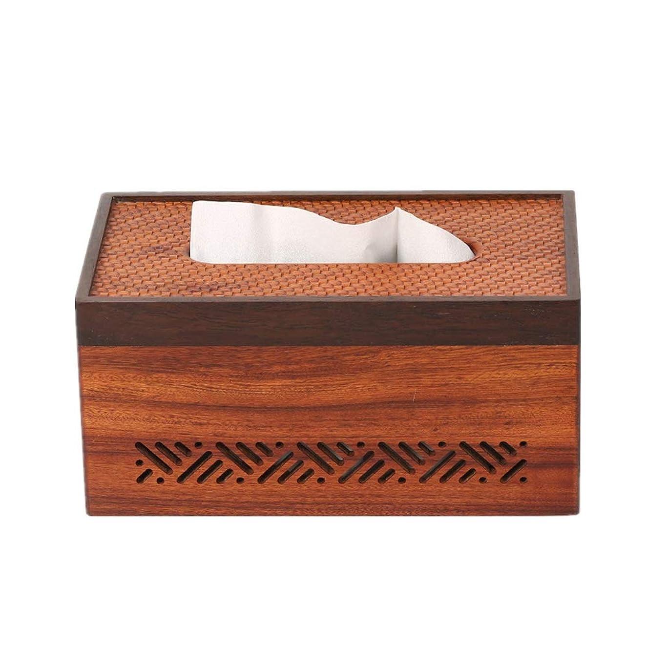 最も遠いストラップ添加木製クラフトティッシュボックス クリエイティブリビングルームのティッシュボックス装飾木製のシンプルな中国スタイルの家庭のコーヒーテーブル 家庭用シンプル木製ティッシュボックス (色 : Picture color, Size : Free size)
