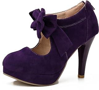 fereshte Women's Girls' Round Toe Platform High Heels Wedding Pumps Shoes with Bowknot Zipper
