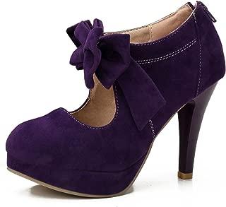 fereshte Women's Platform High Heels Pumps Shoes with Bowknot