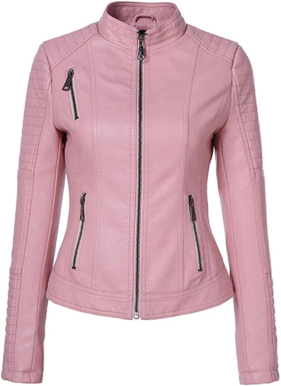 BeautyW Women's Punk Style PU Leather Jacket Motorcycle Short Zipper Basic Coat
