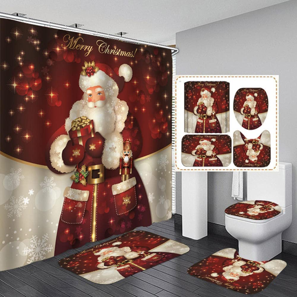 Bathroom Set Snowman Santa Claus Now on sale C Max 62% OFF Shower Elk Pattern Waterproof