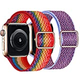 Mantimes Correa de repuesto para reloj, nailon elástico ajustable y súper ligero, compatible con reloj Series 6, 5, 4, 3, 2, 1 SE (38 mm/40 mm, Rainbow Lilac)