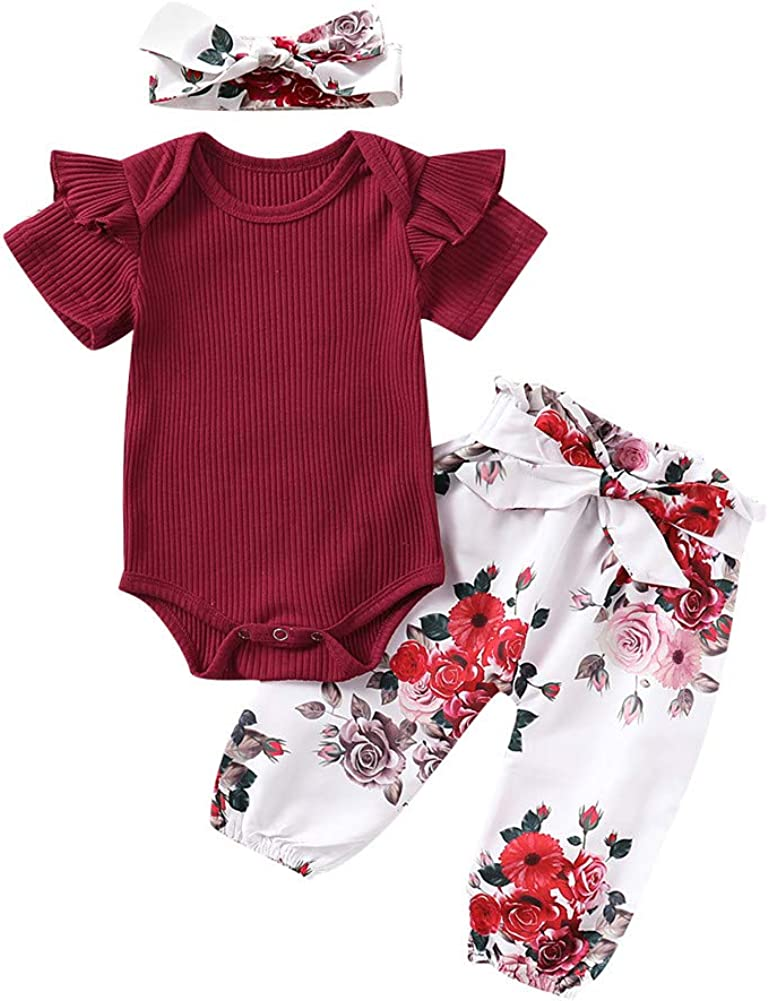 New Baby Girls Cute Solid Color Romper Jumpsuit Bodysuit Top+Bowknot Flower Long Pants Trousers Outfits Set