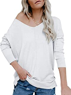 Ybenlow Womens Off Shoulder V Neck Sweater Batwing Sleeve Oversized Pullover Knit Jumper Slouchy Tunic Tops