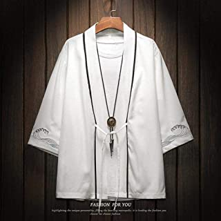 Chinese Dragon Men Kimono Top Clothing Oversize Cotton Linen Sunscreen Haori Shirt Japanese Anime Cosplay Blouse Annacboy ...