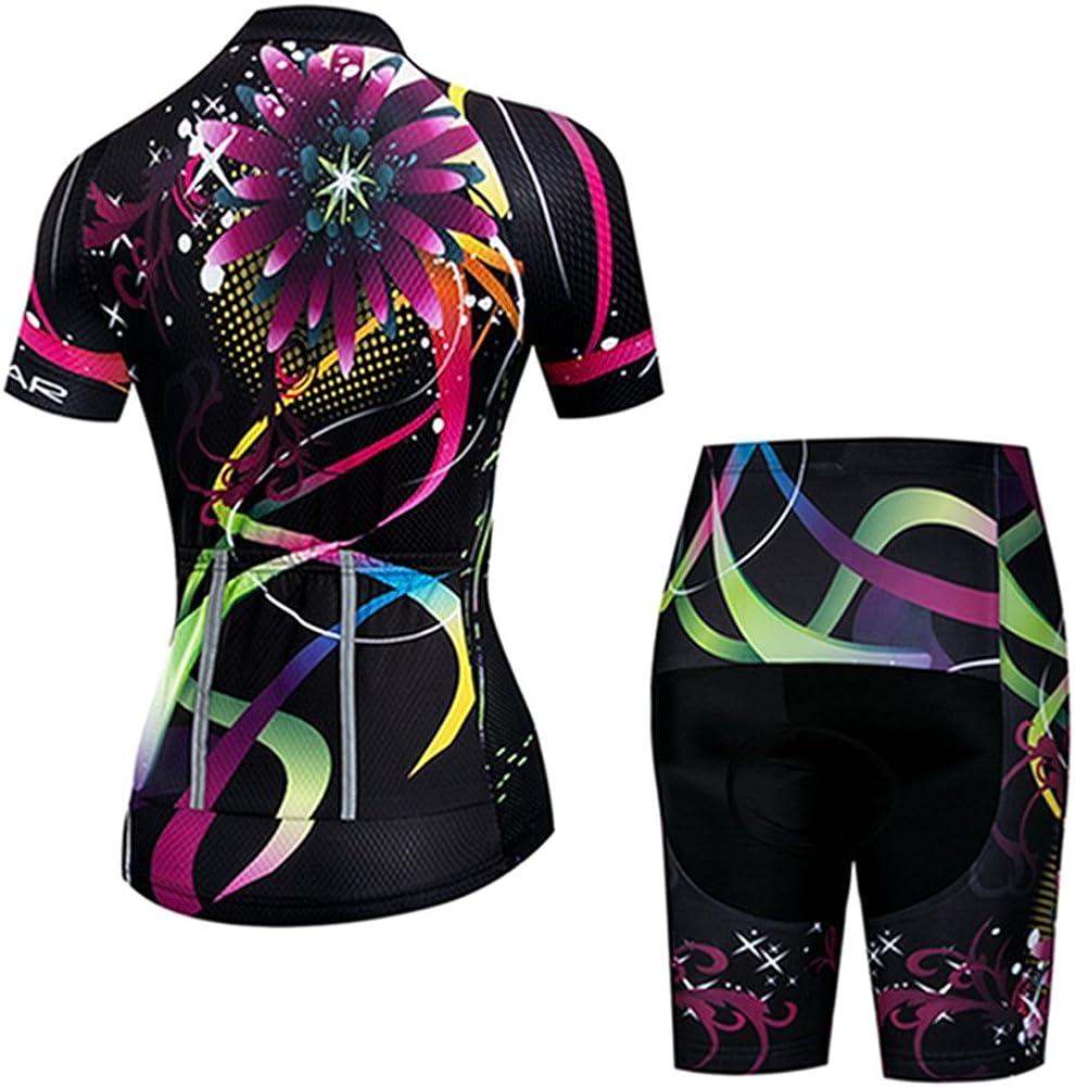 Weimostar Womens Short Sleeve Cycling Jersey Gel Padded Shorts Set MTB Sportswear Reflective