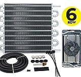 6 Row Universal Aluminum Racing Engine Transmission Oil Cooler Kit Manual-Auto 252x190x19mm