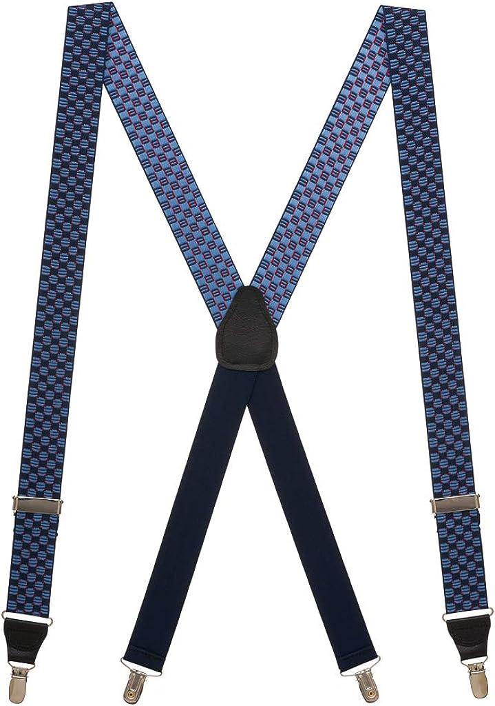 SuspenderStore Men's Navy Jacquard Tacoma Suspenders - DROP CLIP