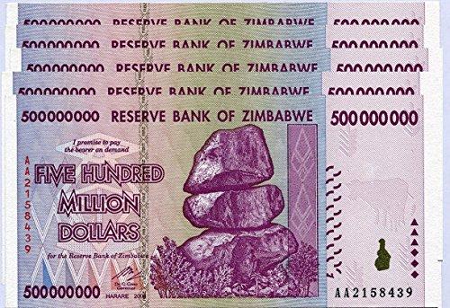 Zimbabwe 500millones de dólares X 5notas 2008unc, mundo inflación Record, moneda billetes de banco