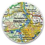 Impresionantes pegatinas de vinilo (juego de 2) 15 cm – Nancy Riverfront Francia mapa de viaje francés Divertidos calcomanías para portátiles, tabletas, equipaje, reserva de chatarras, neveras, regalo genial #45823