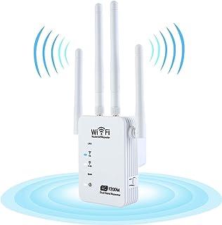 KuWFi 1200Mbps WiFi Booster Range Extender, Dual Band 2.4 & 5GHz Repetidor de sinal sem fio para casa cobertura completa A...
