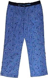 Womens Blue Star & Moon Print Flannel Sleep Pants Lounge & Pajama Bottoms
