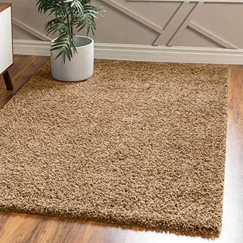 FB FunkyBuys - Tappeto per camera da letto, grande, moderno, morbido, spesso, 5 cm, in pile spesso, disponibile in 12 colori vivaci e 4 misure (beige scuro, 160 x 230 cm)