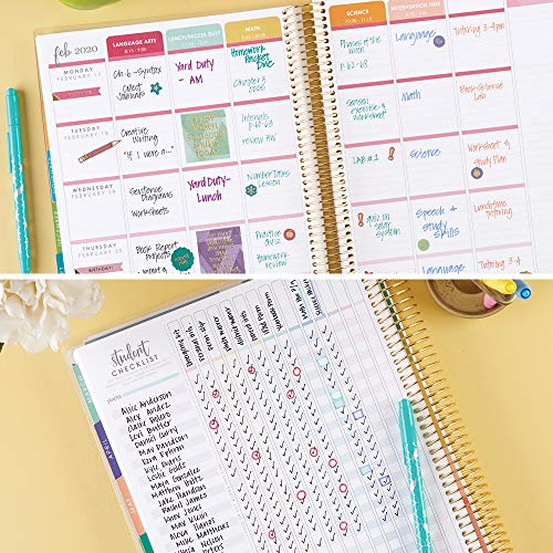 Erin Condren 12 - Month 2020 Teacher Lesson Planner 8.5x11 (January - December 2020) - Make a Difference with List of Subjects Organized Daily, Student Name List with Checklist, and More