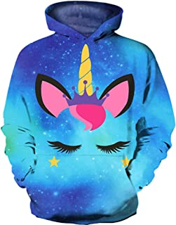 KIDVOVOU Boys Girls Teen's 3D Unicorn Print Hoodies Pullover Kids Sweatshirts