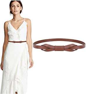 Women PU Leather Skinny Belt for Dress Adjustable Thin Waist Belt for Lady