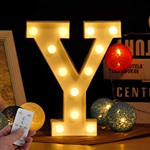 Newly Upgrade Led Letter Lights Marquee Alphabet Light Up Letters with Remote Control Timer Dimmable Battery Powered for Events Wedding Party Birthday Christmas Lamp Home Bar Decoration (Letter-Y)