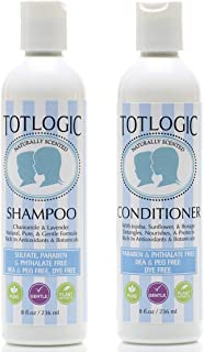 TotLogic Kids Shampoo & Conditioner Set - Sulfate and Paraben Free, Phthalate Free, Non-Toxic Plant Based N...