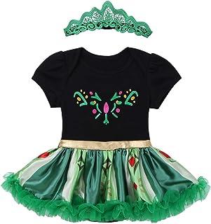 8412f8f468f53 Freebily Déguisement Carnaval Bébé Fille Princesse Robe avec Couronne  Bandeau Neiges Ensemble Vêtement de Princesse Halloween