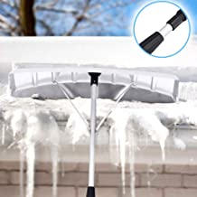 TINGSHOP Snow Roof Rake, Adjustable Winter Lightweight Shovel Snow Roof Rake Cleaner Long Extendable Handle Roof Snow Removal Tool(White)