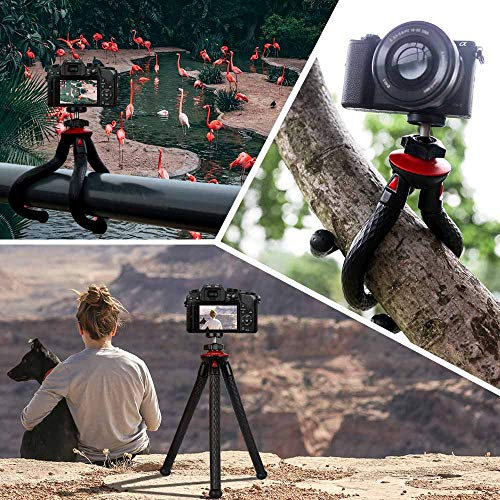 Tripod for iPhone, Fotopro Flexible Camera Tripod with Bluetooth for iPhone 11 XS,Samsung, Waterproof and Anti-Crack Phone Tripod Stand for GoPro, Portable Travel Tripod for Live Streaming Vlog Video