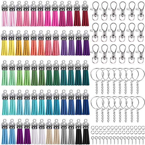 Duufin 360 Pièces Porte-clés Glands Pendentifs Set avec Glands en Cuir, Crochets Mousquetons Anneau avec Chaîne, Anneaux Ouverts et Tige à Vis