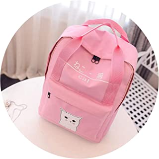 Cat Ring Canvas Women Backpack GirlTeenager Girl,Pink