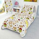 Red Love Hearts - Juego de funda de edredón y funda de almohada para cuna y cama infantil (100% algodón), diseño de oso de peluche rosso Talla:120x150 cm