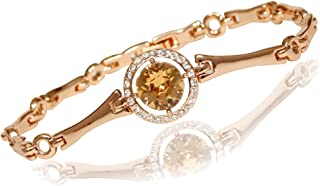 Women's Rose Gold Plated Bangle Bracelet, 24 Cubic Zirconia Surrounding A Light Brown European Crystal