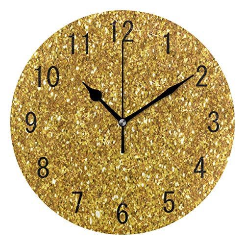 Use7 Home Decor Glänzende goldene Glitzer Runde Acryl-Wanduhr, Nicht tickend, geräuschlose Uhr, Kunst für Wohnzimmer, Küche, Schlafzimmer