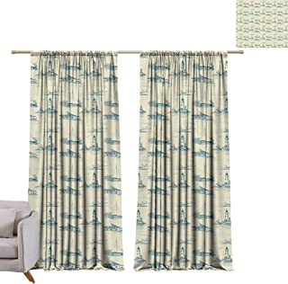 Andrea Sam Curtain Set Lighthouse,Hand Drawn Beach Pattern Summertime Illustration Vacation Tourism Elements,Beige Dark Blue with Grid Composition Decorative Curtains for Living Room,W96 x L108 inch