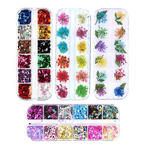 NEPAK 4 box Nail Art Sticker Getrocknete Blumen Nagelkunst Aufkleber Maniküre nail trocken blumen Schmetterling Nagel Funkeln Pailletten Gemischte, für Nagel Dekor