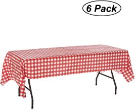 Oojami Pack of 6 Plastic Red and White Checkered Tablecloths - 6 Pack - Picnic Table Covers