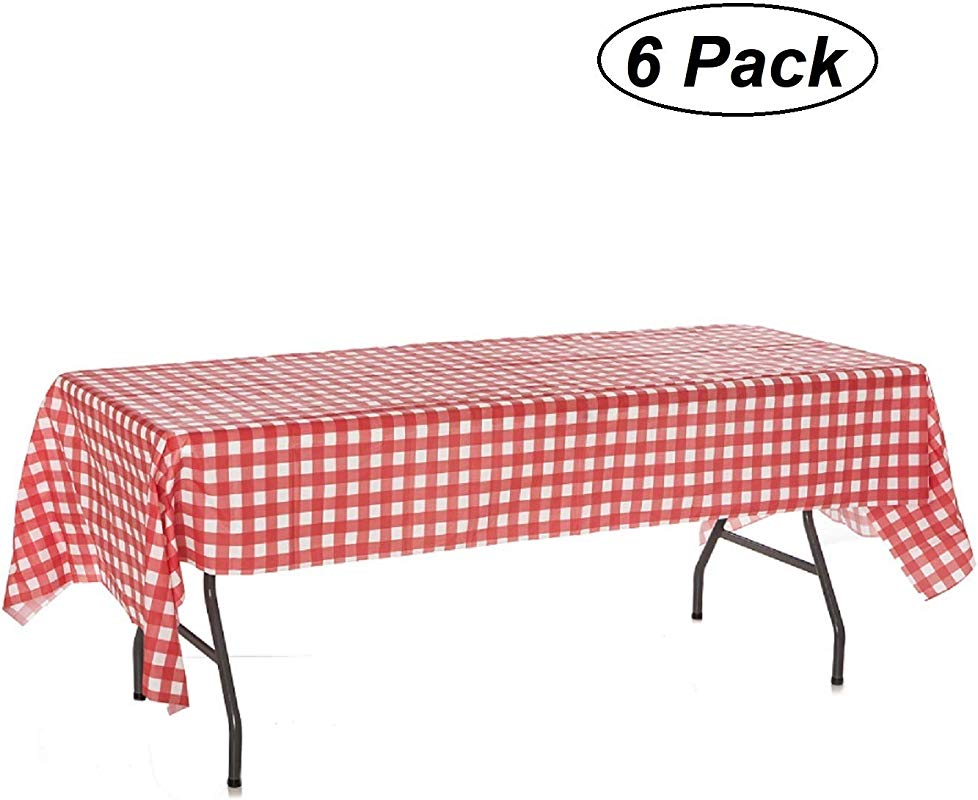 Oojami Pack Of 6 Plastic Red And White Checkered Tablecloths 6 Pack Picnic Table Covers