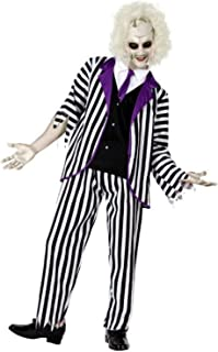 Mens Black White Striped Suit Crazy Ghost TV Book Film Halloween Fancy Dress Costume Outfit