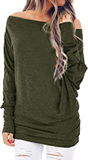 YOTGAP Women's Off Shoulder Shirts Long Sleeve Tees Tunics Loose Solid Blouses Tops Army Green M