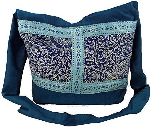 GURU SHOP Sadhu Bag, Schulterbeutel, Hippie Tasche - Türkis, Herren/Damen, Baumwolle, Size:One Size, 30x35x10 cm, Bunter Stoffbeutel
