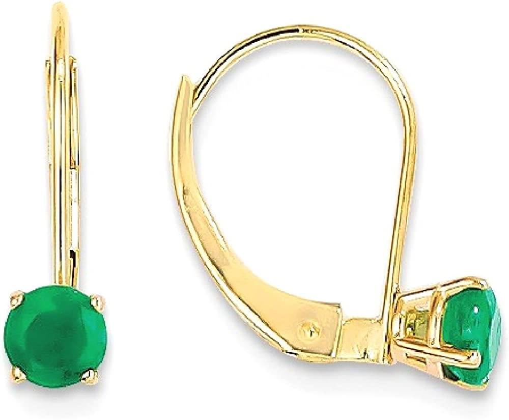 14k Yellow Gold 4mm Round May/emerald Leverback Earrings Lever Back Drop Dangle Birthstone May Fine Jewelry For Women Gifts For Her