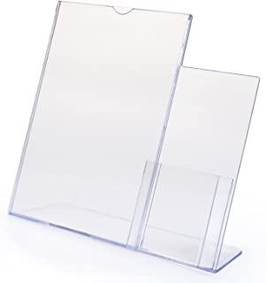 "SourceOne 8.5"" x 11""Large Sign and 4"" Brochure Holder – Clear Acrylic Countertop Organizer"