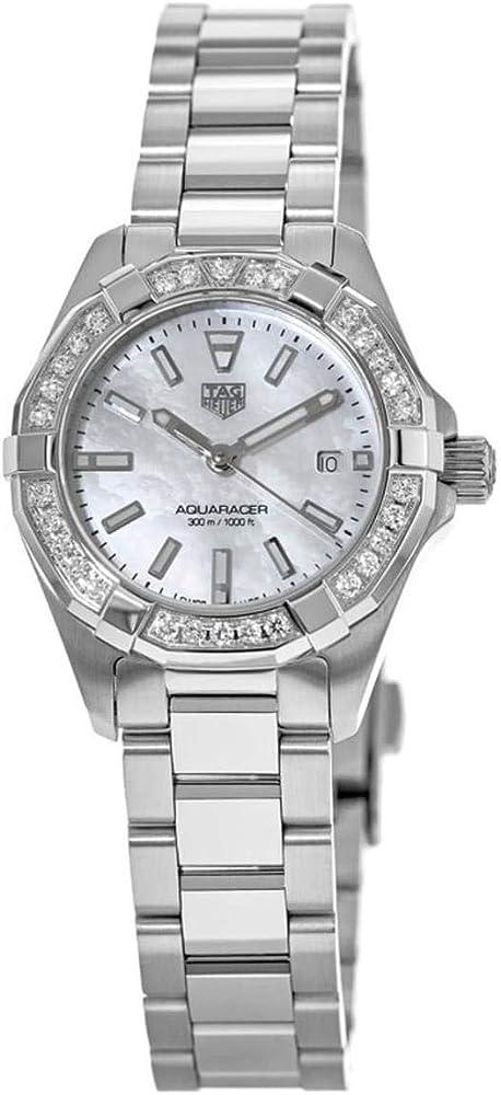 Tag heuer, orologio per donna, in acciaio con lunetta girevole unidirezionale decorata con 30 diamanti WBD1413.BA0741