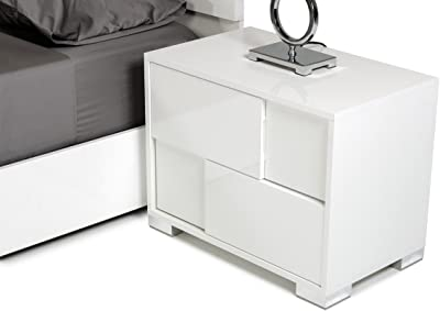 Limari Home The Bartolemo Collection Modern Italian Crafted Crocodile Textured Bedroom Storage Right Nightstand With Metal Legs, Silver Accents & 2 Drawers, White