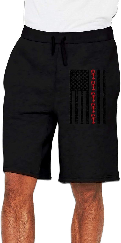 SEAEAGLE Lobster USA Flag Men's Casual Trouser Shorts Elastic Waist Drawstring Summer Pants
