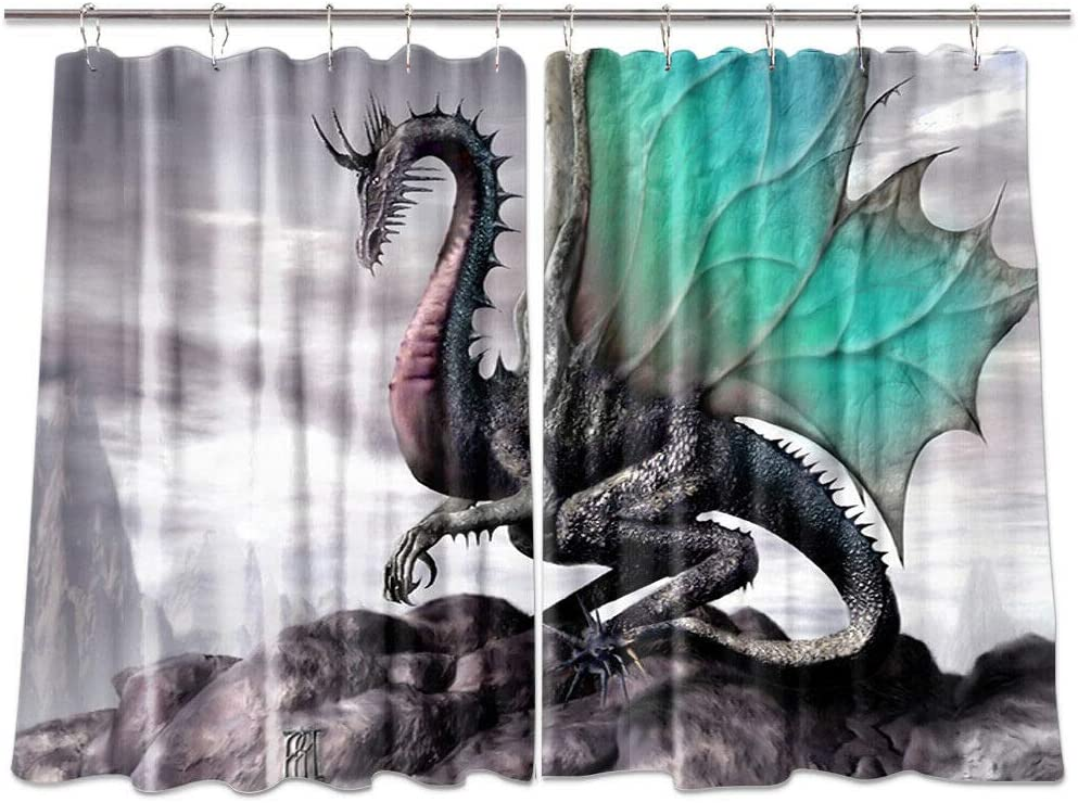 NYMB Medieval Fantasy Theme Dragon Kitchen Window Curtains, Home Decorations Window Drapes, Window Treatment Sets with 2 Panels, 55X39Inches, (Teal)